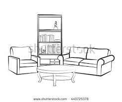 interior outline sketch furniture blueprint architectural stock living room  drawings vector home with sofa armchair table
