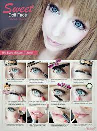 sweet doll face makeup tutorial big eyes and glossy lips