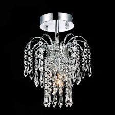 cute semi flush crystal chandelier fountain mount small round chrome gold light