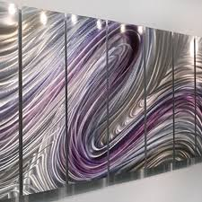 purple and silver metal wall art