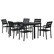 modern contemporary 7 piece black metal rectangular outdoor dining set with faux wood and patio folding table n