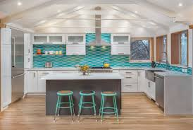 White And Gray Kitchen Remodeled Kitchen W Wavy Turquoise Backsplash White Cabinets