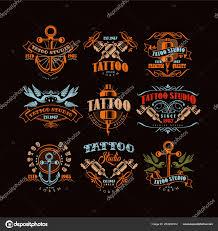 тату студия логотип дизайн набора ретро стиле эмблемы с