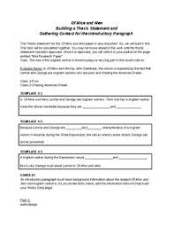 Thesis Statement Template For Of Mice And Men By Carol Krauss Tpt