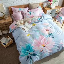pink flowers daisy magnolia cherry blossoms bedding set queen king size cotton printed flat bed sheets