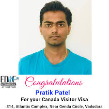 Many Congratulations to Pratik Patel for Canada Visitor Visa from  Switzerland af... - Edge International