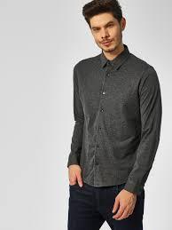 Buy Indigo Nation Grey Melange Slim Fit Knitted Shirt For
