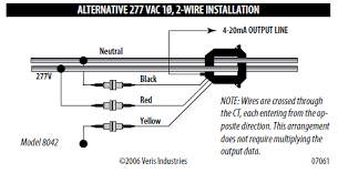 using the veris industries h series power transducer ni different wiring configurations for veris enercept h8040 series depending on sensor and application
