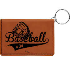 add to my lists leather keychain wallet personalized baseball