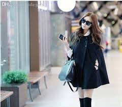 whole korean women las batwing wool oversized casual poncho winter coat jacket loose cloak cape outwear black big size s x l h0876 coat dress coats