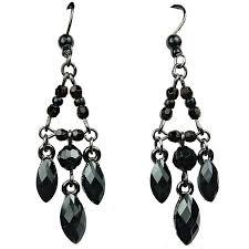 chic costume jewellery black teardrop rhinestone bead fashion chandelier drop earrings loading zoom