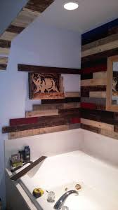 Pallet Wall Bathroom Pallet Wall Paneling Project Around The Jacuzzi Bath Tub
