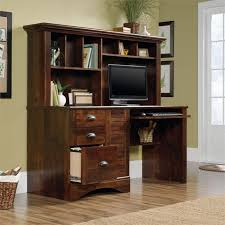sauder harbor view computer desk with hutch in curado cherry 420475 for modern property sauder harbor view computer desk with hutch salt oak designs