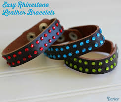 rhinestone leather bracelet supplies