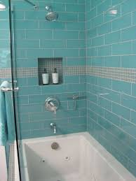 bathroom bright shower tiles ideas with teal modern ceramic wall and white modern bathtub added