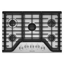 kitchenaid 36 in gas cooktop in stainless steel with 5 burners including a multiflame dual