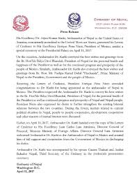 press release on presentation of letter of credence