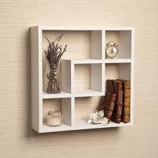 geometric wooden floating square wall shelf