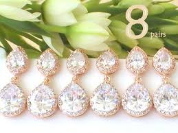 unique bridesmaid gift ideas set of 8 15 off maid of honor gift for bridal shower gift for bridesmaids jewelry cz drop rose gold earring