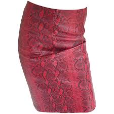 y 1990s red leather snake skin high waisted 90s vintage wiggle pencil skirt for at 1stdibs