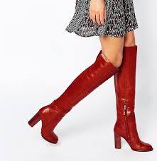 sam edelman rylan rust red leather heeled knee boots