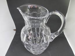 vintage cut crystal water iced tea pitcher heavy beautiful condition simple design mid century modern pitcher