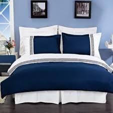 astrid navy blue and white embroidered 3 piece duvet cover set
