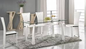 italian glass furniture. High-class Rectangular Clear Glass Top Dining Table And Chair Sets Italian Furniture