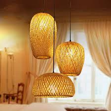 Japanese Lantern Pendant Light Bamboo Lantern Pendant Lamp Retro Japanese Style E27
