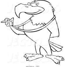 Small Picture Vector of a Cartoon Bald Eagle Holding a Medal Outlined Coloring