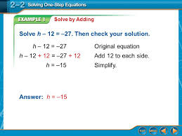 example 1 solve by adding solve h 12 27 then check your