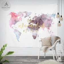 in wander we trust world map wall tapestry boho watercolor world map wall hanging bohemian wall tapestries boho wall decor 2509102186600 jpg v