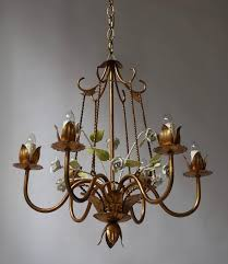 20th century italian brass chandelier with porcelain flowers for