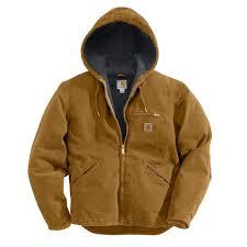 men s large tall carhartt brown cotton sierra jacket sherpa lined sandstone