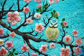 beautiful textile art...   Sublime Stitchery   Pinterest   Asian ... & SOLD-Cherry Blossoms and Two Birds-hand painted silk art quilt Adamdwight.com