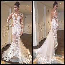 sexy see through vintage wedding dresses sleeves sheer scoop