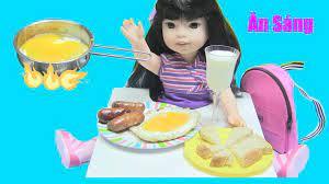 Nấu Đồ Ăn Sáng Cho Búp Bê Bằng Bộ Đồ Chơi Nấu Ăn Mini / Bé Nguyên Thơ Ăn  Sáng Đi Học chị bí đỏ - YouTube