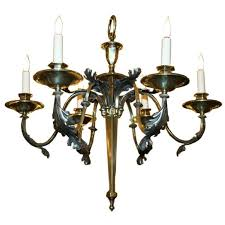 french 1940s small bronze chandelier in english brass for