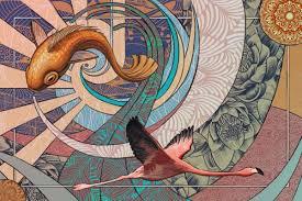 tableau toile déco originale art deco zen flamant rose