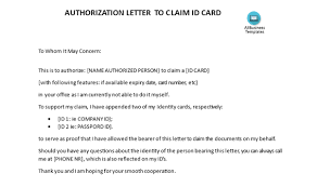What Is An Example Of An Authorization Letter To A Claim An Id Card