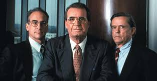 """James Garner starred as F. Ross Johnson in 1993's TV movie """"Barbarians at  the Gate,"""" with Peter Riegert and Jonathan Pryce 