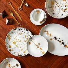 white and gold dinner plate  modern dining  jonathan adler