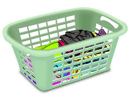 laundry basket clipart. Basket With Folded Laundry Clipart