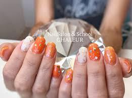 夏 ネイル シンプル オレンジ