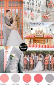 Coral Color Combinations Peach Coral And Grey Wedding Palette Grey Weddings Peach And Coral
