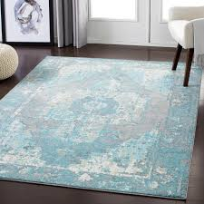 amazing teal and white area rug regarding bungalow rose almendarez distressed off