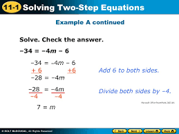 11 1 solving two step equations 34 4m 6