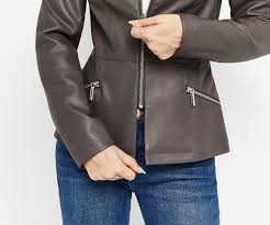 oasis faux leather collarless jacket mid grey 4