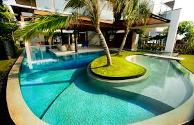 Swimming Pool:Enjoyable Garden With Swimming Pool And Stone Path Idea  Natural Swimming Pool Designs