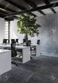 modern architecture interior office.  Architecture Stock Photo  View Of Modern Minimalist Interior Office With Several  Workplaces And High Green Tree Plant Against Concrete Wall Copy Space 3d Rendering And Modern Architecture Interior Office